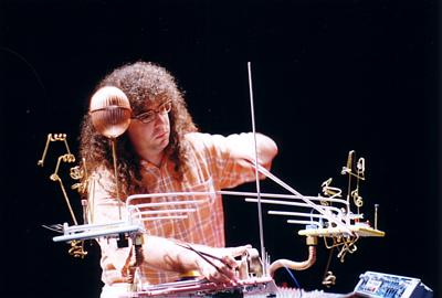 photo of Mark Applebaum playing the mouseketier